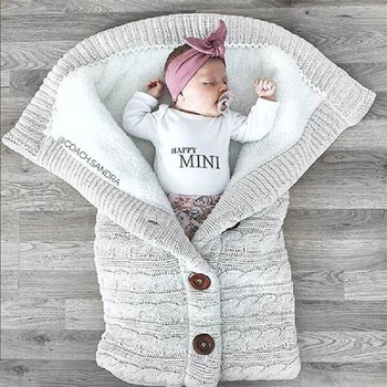Новородено бебе зимно топло спални чували бебешки копче плетено пеленаче пеленаче повиване количка увиване малко одеяло спални чували