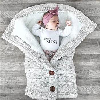 Nowonarodzone dziecko zima ciepły śpiwór niemowlę przycisk dzianiny owijka dla niemowląt pieluszki wózek Wrap maluch koc śpiwór dla dziecka tanie i dobre opinie Unisex W wieku 0-6m 7-12m CN (pochodzenie) Śpiwory dla dzieci Czesankowe Stałe COTTON baby