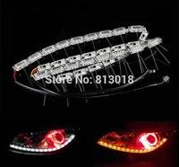 Tira de luces LED Flexible para coche, doble color, blanca y ámbar, intermitente, flujo secuencial, DRL