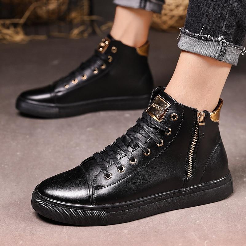 Winter Leather Sneakers Mens Luxury Shoes Men Designer Black Shoe 2019 Men Fashion Shoe Zipper Flats Slip On Casual Sneakers