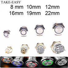 TAKE-EASY Electric Waterproof Power 12v Led Light Momentary Push Button Switch 8/10/12/16/19/22 mm Pressure Switches 220v 24v 3v