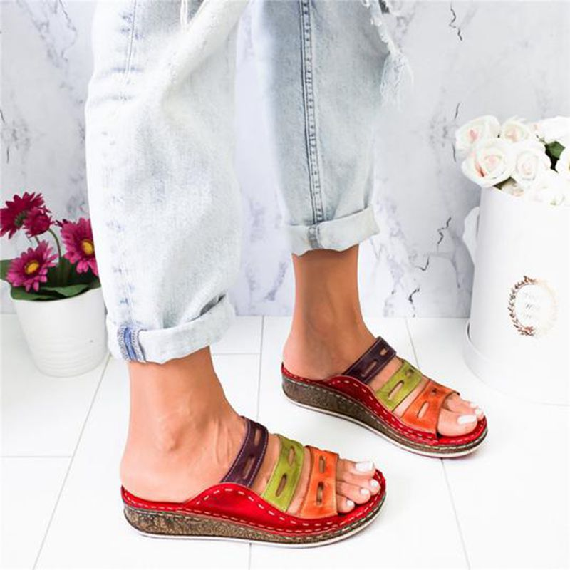 Summer women's shoes sandals Roman retro casual shoes thick bottom wedges with open toe beach slide shoes for women