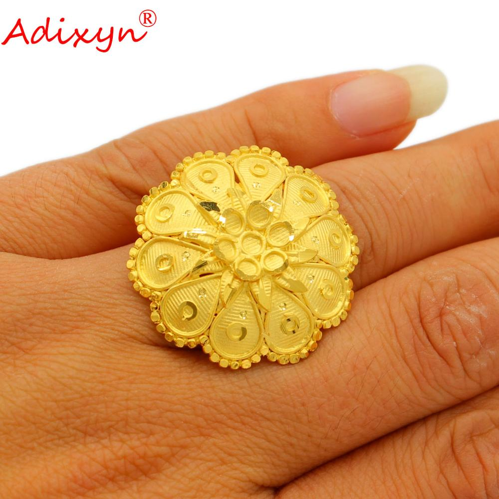 Adixyn Ethiopian Jewelry 24K Gold Color Copper Rings for Women Men Dubai African Wedding bands Accessories N103121