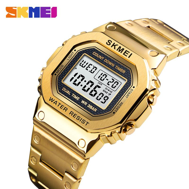 SKMEI Gold Sport Watches For Men 3Bar Waterproof Digital Watch Fashion Alloy Case Alarm Stainless Steel Wristwatches 1456