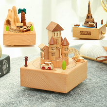 Musical Boxes Wooden Music Box Wood Crafts Retro Birthday Gift музыкальная шкатулка Home Decoration Accessories Train Castle Toy retro telephone style musical box toy coffee gold