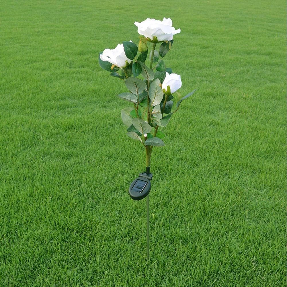 Solar Power LED Rose Flower Light Outdoor Landscape Garden Yard Lawn Path Lamp