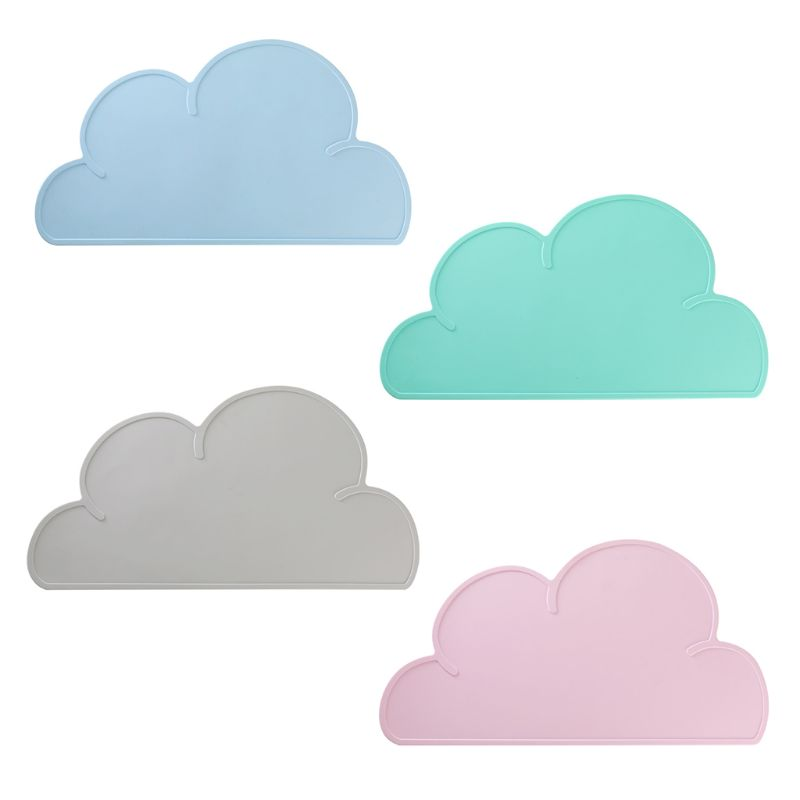 Cloud Shape Silicone Table Mat Placemat For Kids Baby Toddlers Non Slip BPA Free Kitchen Pad For Quick Mealtimes