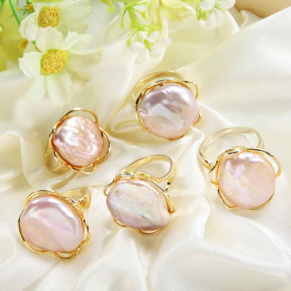 Barroco pérola anel aberto para mulher festa de água doce natural irregular grande pérola cor do ouro anéis jóias finas presente