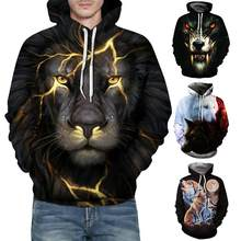 Halloween Hoodies Men's 3D Lion Wolf Head Long Sleeve Print Hoodie Comfortable Sweatshirt Top Cosplay Costume stranger things(China)