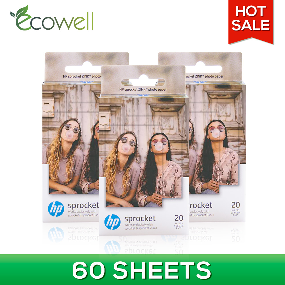 Ecowell 2x3 Small Zink Sticker Paper photo paper compatible for HP Sprocket or HP Sprocket 2