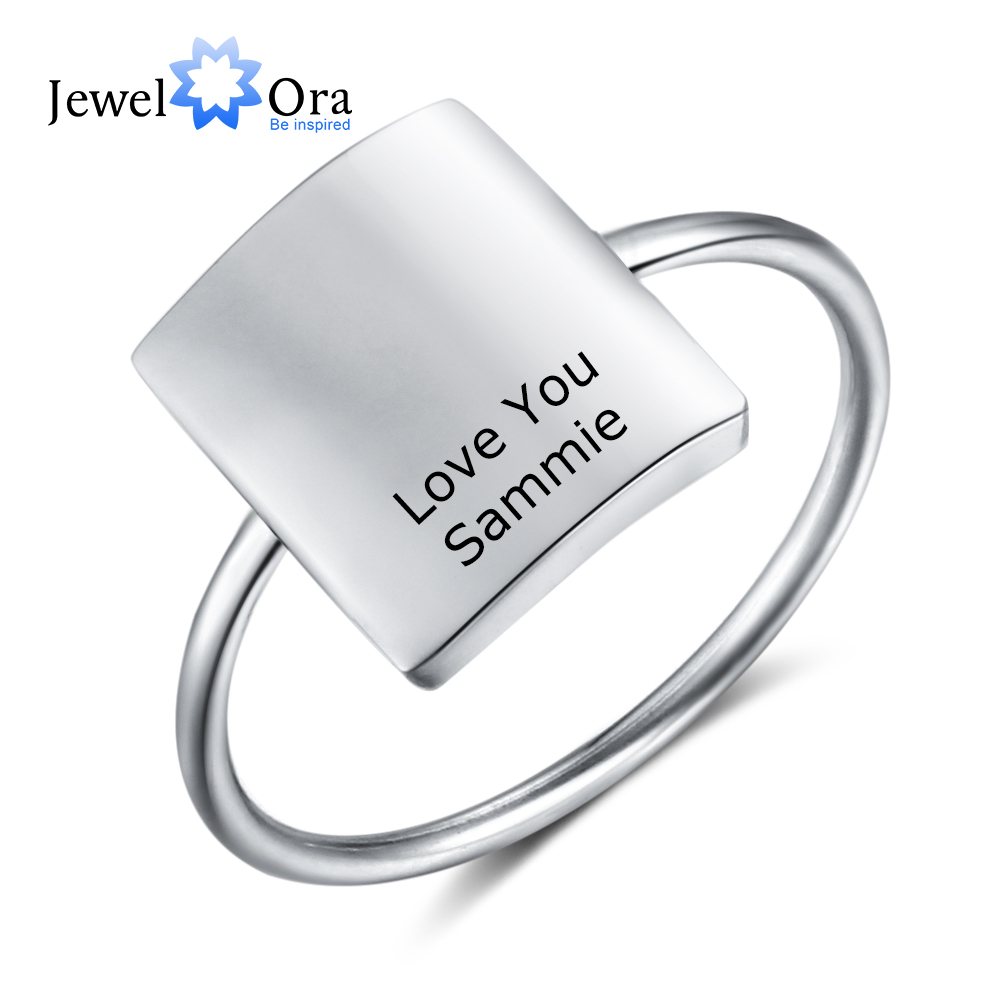 Personalized Jewelry Gold Color Stainless Steel Engraved Rings For Women Customized Square Ring OL Ladies Jewelry (RI103948)