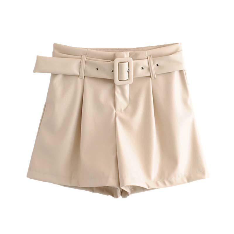 Women Stylish Black Beige Shorts Sashes Zipper Fly Pockets Female Casual Chic Shorts PU Leather Pantalones Cortos