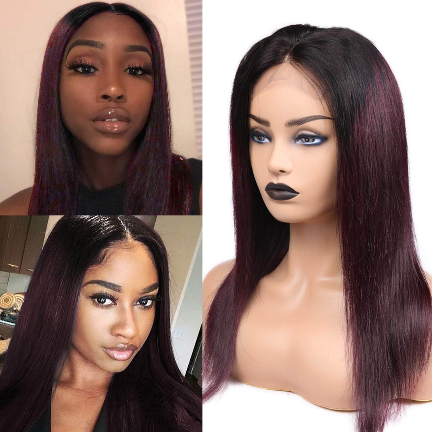 HANNE 4*4 Lace Closure Wigs #1B/#99J Ombre Remy Human Hair Wigs With Baby Hair Straight 150% Density Brazilian Hair Wig In Stock