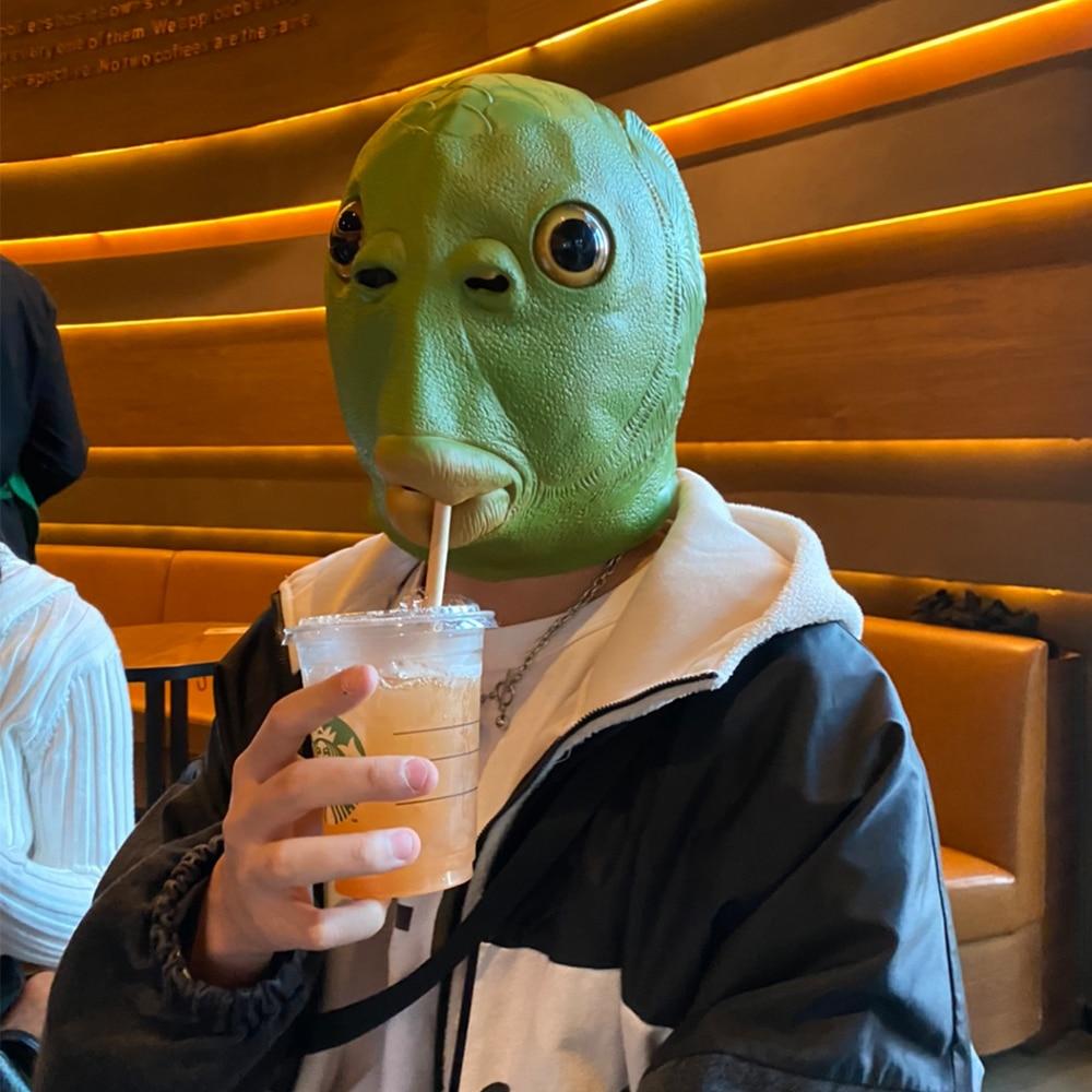 Eraspooky 2020 HOT Funny Green Fish Head Masks Cosplay Halloween Costume For Adult Purim Xmas Party Props Animal Latex Headgear