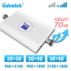 Усилитель сигнала lintratek 2g 3g 4g, двухдиапазонный сотовый ретранслятор GSM WCDMA 900 2100 1800 DCS LTE 4G, усилитель сигнала
