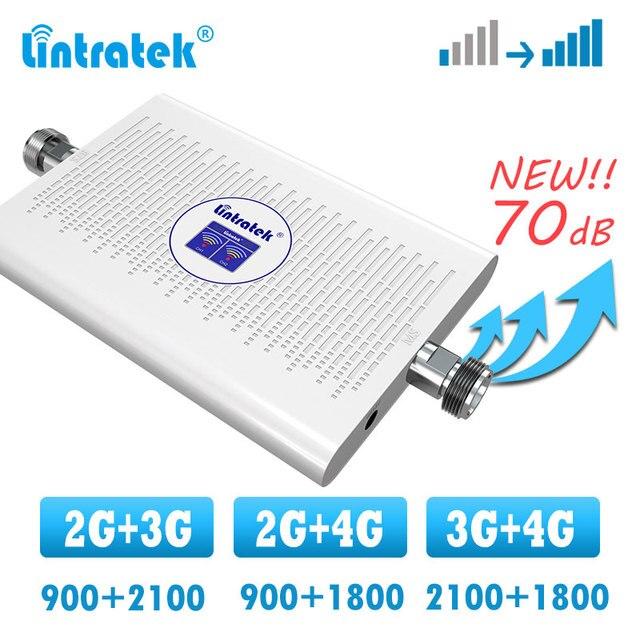 Lintratek 2g 3g 4g усилитель сигнала, двухдиапазонный сотовый ретранслятор GSM WCDMA 900 2100 1800 DCS LTE 4G усилитель сигнала