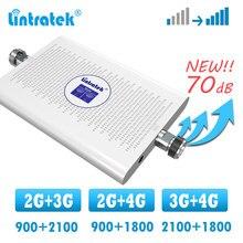 をlintratek 2 グラム 3 グラム 4 グラム信号ブースターのデュアルバンド携帯リピータgsm wcdma 900 2100 1800 dcs lte 4 グラム信号ブースターアンプ