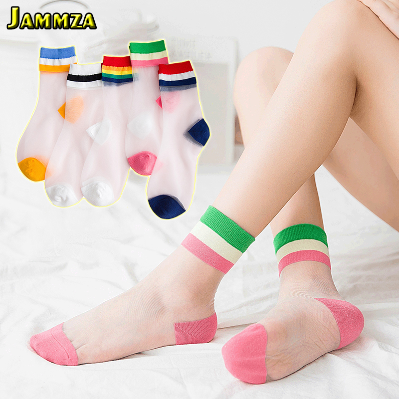 2020 Rainbow Stripe Transparent Silk Socks Women Ultra-thin Spring Summer New Socks Style Japan Glass Fiber Invisible Socks