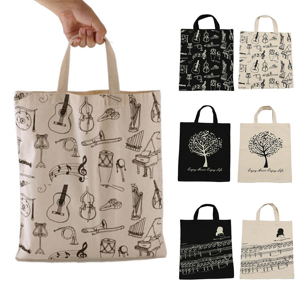 Portable Cotton And Linen Music Note Musical Elements Tote Shopping Bag Keyboard Pattern Musical Instruments Handbag Music Bag