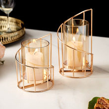 Golden Metal Candle Holder Multifunctional Glass Vase Glass Candle Holder Dining Table Decoration Candle Modern Home Decoration