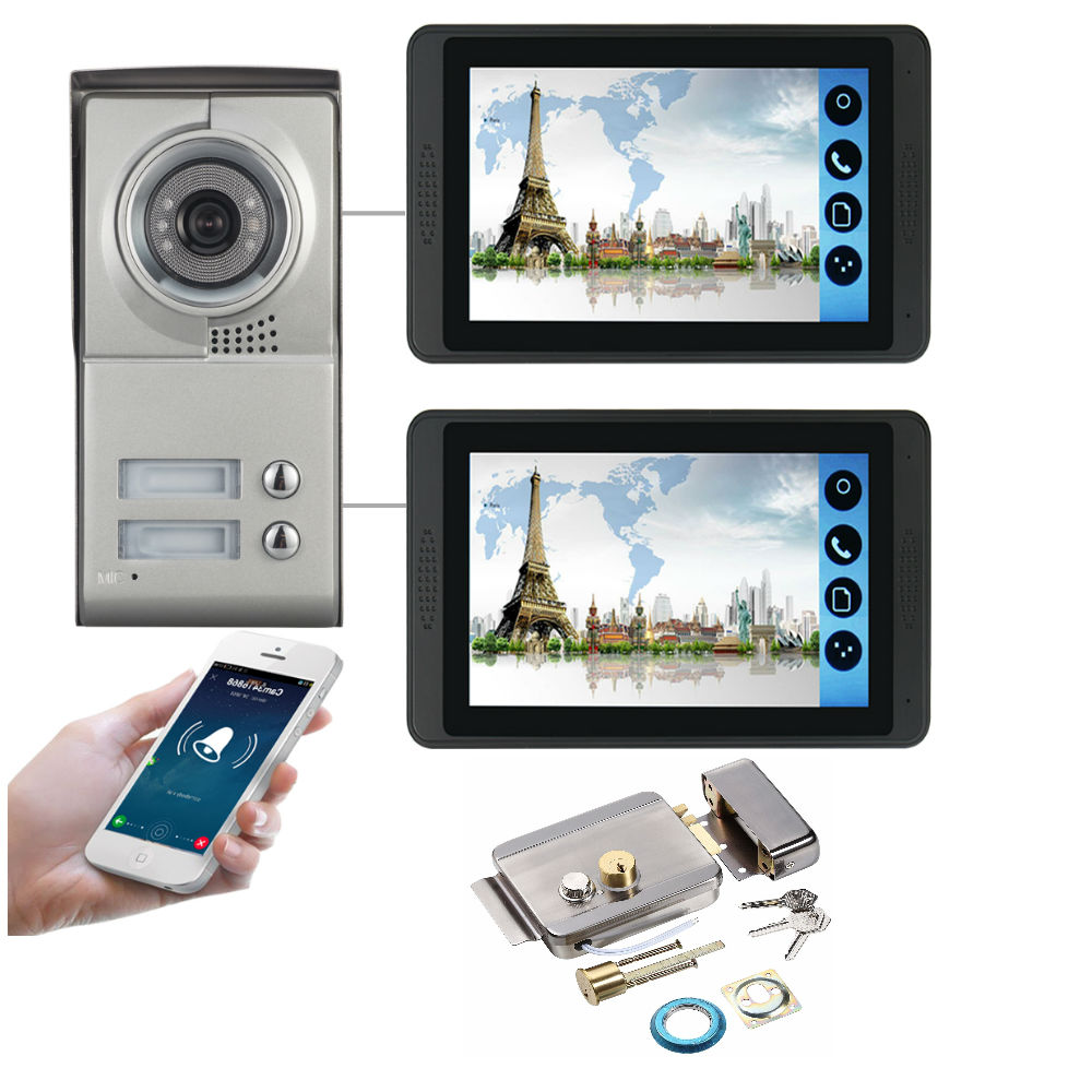 7inch Wired Wifi Video Door Phone Intercom 2 Units Apartment Video Intercom With Android Ios APP Control System