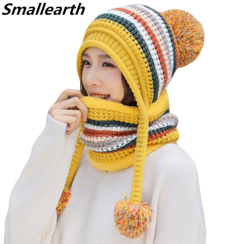 2019 New Knitted Winter Hat Scarf Set Women Thick Cotton Beanies Scarf Sets Female Knitted Winter Accessories Girls Pompom Caps