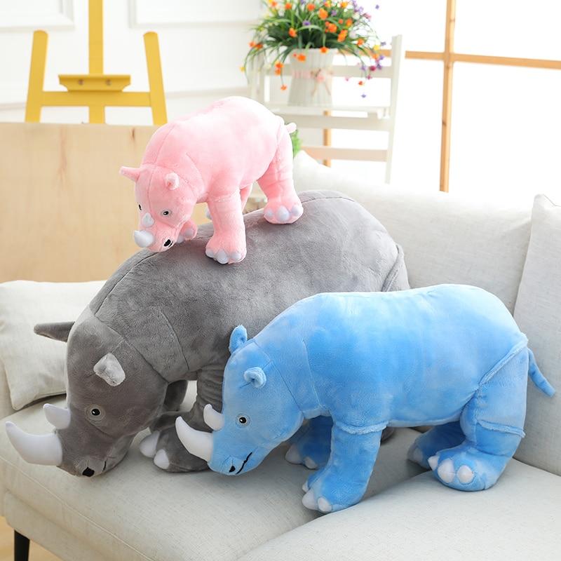 Cute rhino doll plush toy baby soothing accompany sleeping pillow sofa bedside cushion boys and girls holiday birthday gift