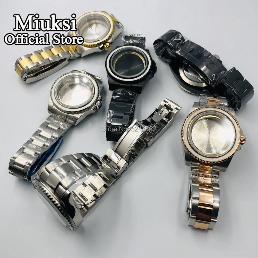 Miuksi 40mm Case Sapphire Glass Stainless Steel Watch Case Fit For ETA 2836 Mingzhu DG2813/3804 Miyota 8205 8215 821A Movement