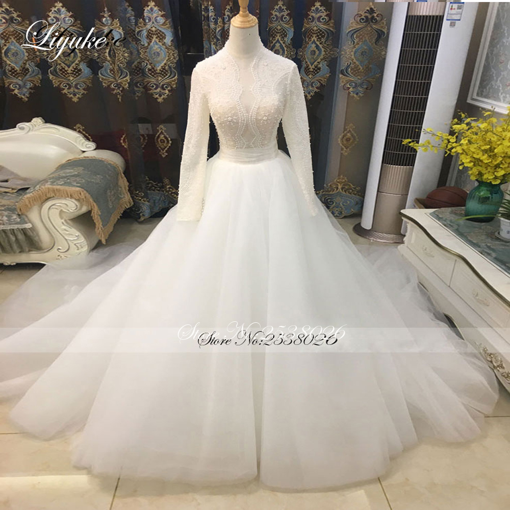 Liyuke Vintage Soft Tulle High Neckline Full Sleeves A-Line Wedding Dress Court Train Beading Crystals Pearls Bride Dress