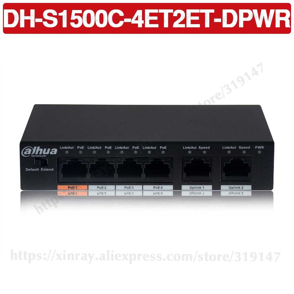 Dahua 4ch Poe Switch DH-S1500C-4ET2ET-DPWR 4CH Ethernet Switch Met 250 M Power Transit Afstand Ondersteuning Poe + & Hi- poe Protocol.