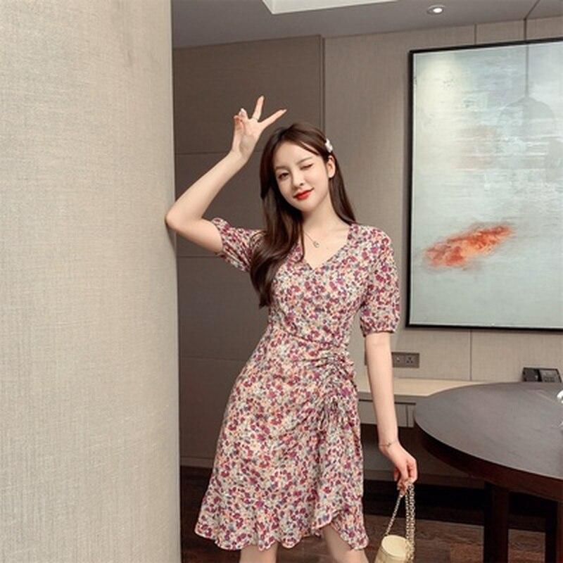 2020 Summer Ladies Short Sleeve V-neck Casual Dress Floral Printied A-Line Elegant Knee-length Dresses Female Vestidos