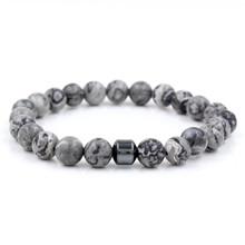 Classic Simple Women Men 8mm Natural Tiger Eye Marble Lava Hematite Stone Yogi Bracelets Bangle Lucky Jewelry