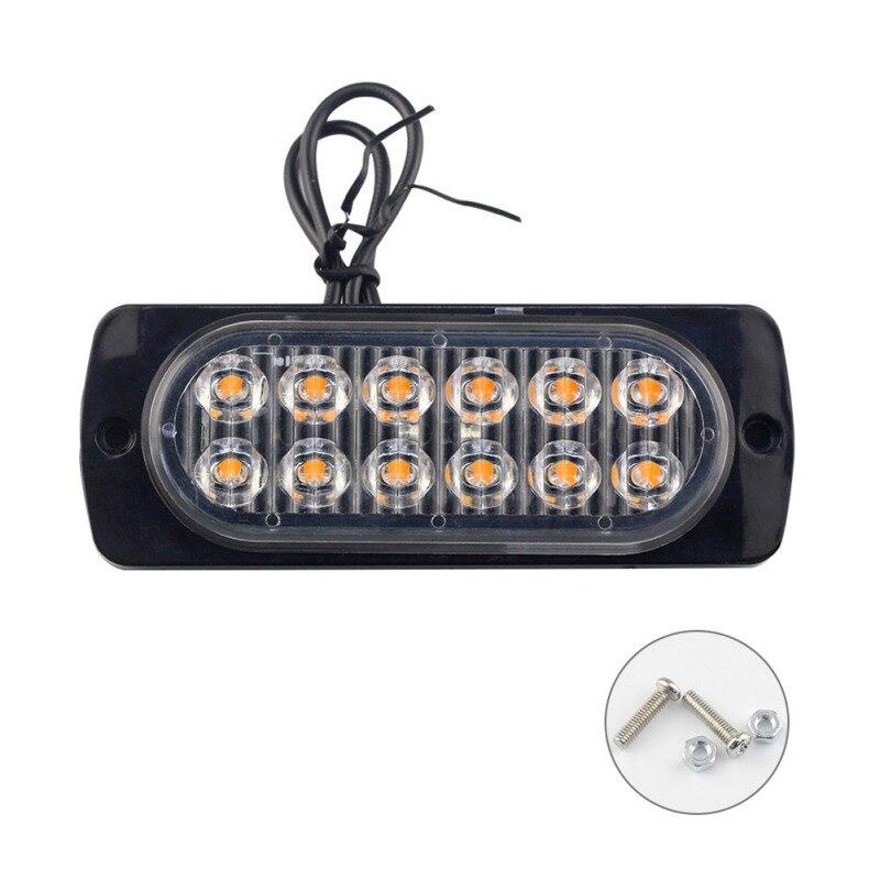 High Power Waterproof 12V 12W LED Car Truck Emergency Strobe Light  Side Strobe Warning Flashing Light White Red Flash Lamp