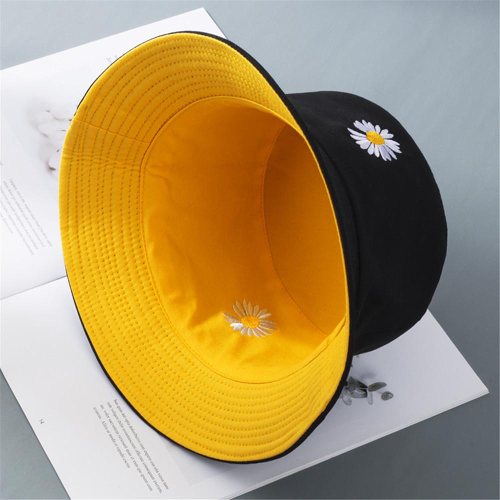 2020 Popular Daisies Double Sided Bucket Hat Women Girls Foldable Outdoor Chapeau Sun Prevent Hats Cotton Fisherman Cap