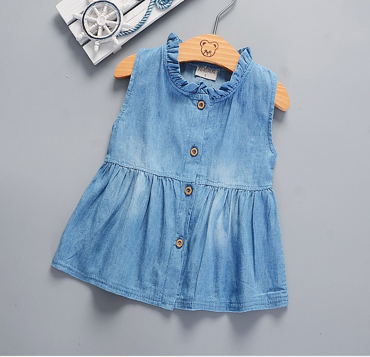 Toddler Infant Kids Girls Baby Sleeveless Princess Dress Denim Tutu Dresses Brief Casual Top