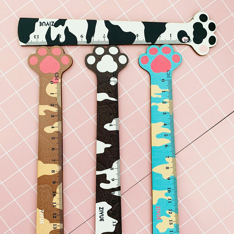 1Pc Kawaii Paw Wooden Ruler 14cm Cute Cat Straight Ruler For Kids Girls Gifts Measuring Tools School Office Supplies Stationery