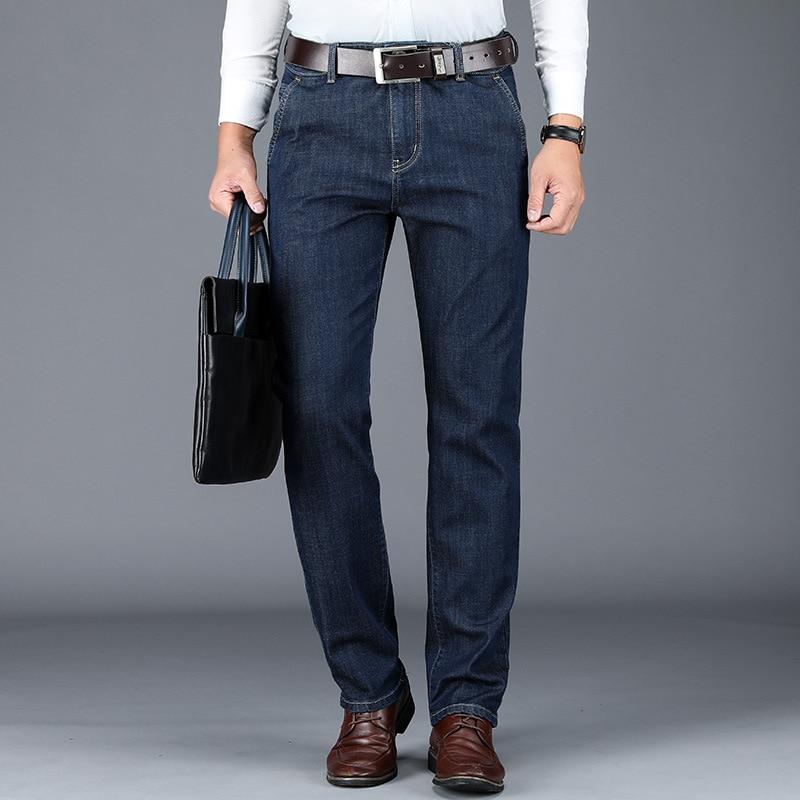 Jeans Men 2019 Men's New Straight Loose High Waist Modal Deep Jeans Autumn New Black Denim Pants Size 28-40 42