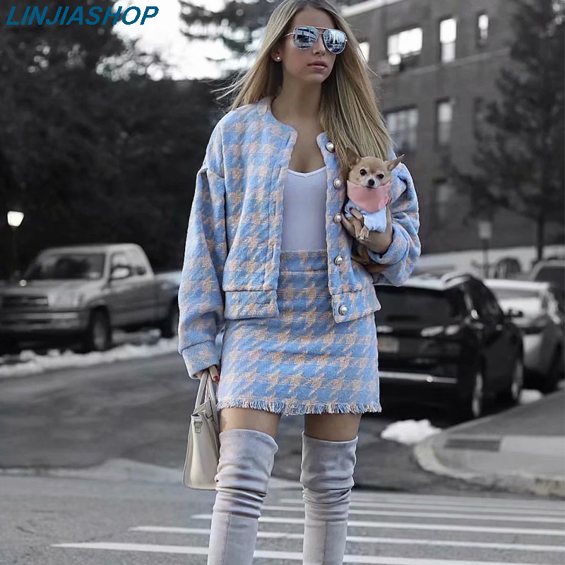 Women Autumn Plaid Two Piece Set Woolen Bottons Long Sleeves Cardigans And Mini Skirt Elastic Waist Streetwear Suit Sets