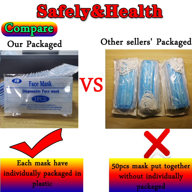 In stock High Quality Non Woven Disposable Face Mask 3 Layers Anti-Dust Face Masks Ear loop Mouth Mask Individually packaged 1