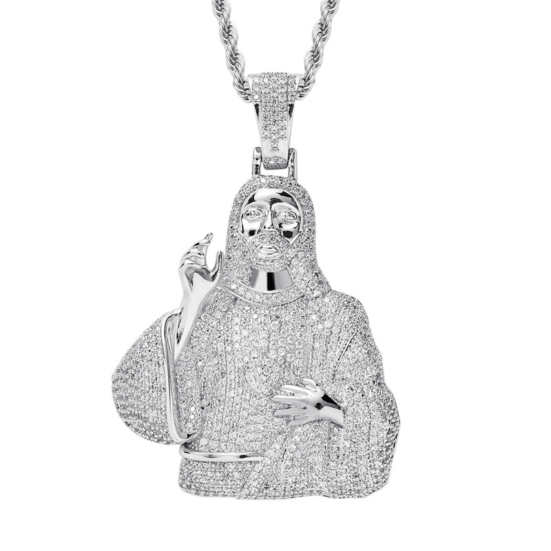 Iced Out Jesus Pendant Mens Hip Hop Necklace With Chain 2 Colors Fashion CZ Stone Necklace For Man Women Gift