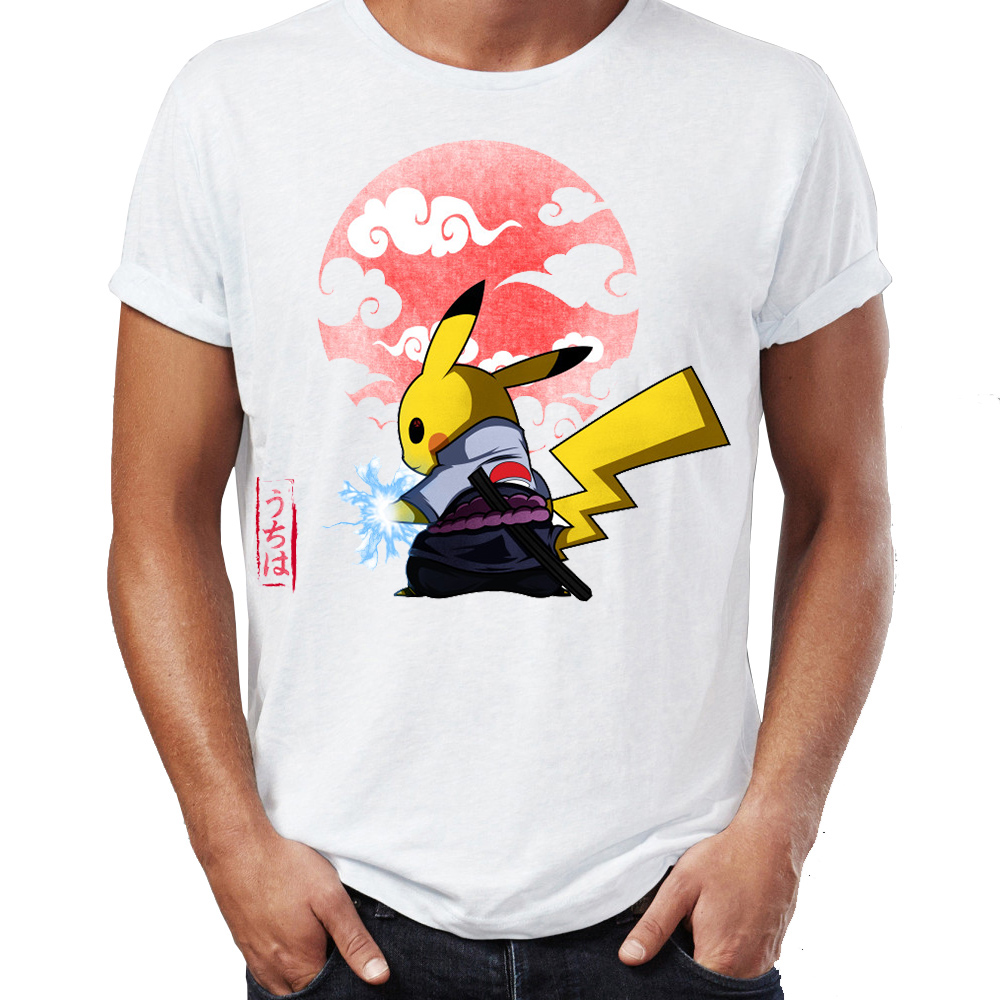 Men's T Shirt Naruto Pikachu Under The Sun Awesome Artwork Printed Mens Tshirt Hip Hop Streetwear New Arrival Male Clothes