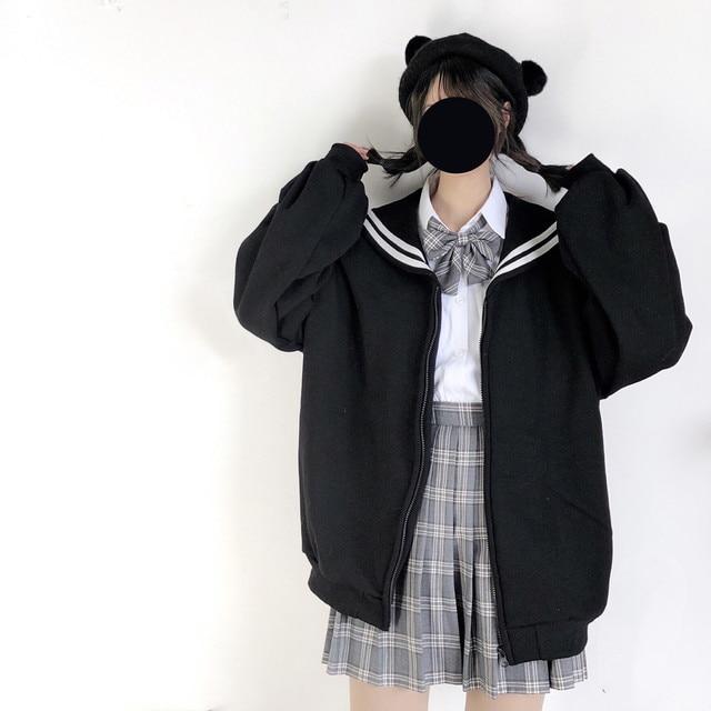 Kış Kawaii tatlı kız büyük boy Hoodie Streetwear Sailor yaka kazak kadınlar Harajuku fermuar giyim ceket siyah mavi