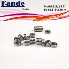 10 pces 628/2.5 zz 628/2. 5zz 2.5x6x2.5mm rolamento de esferas miniatura 2.5x6x2.5