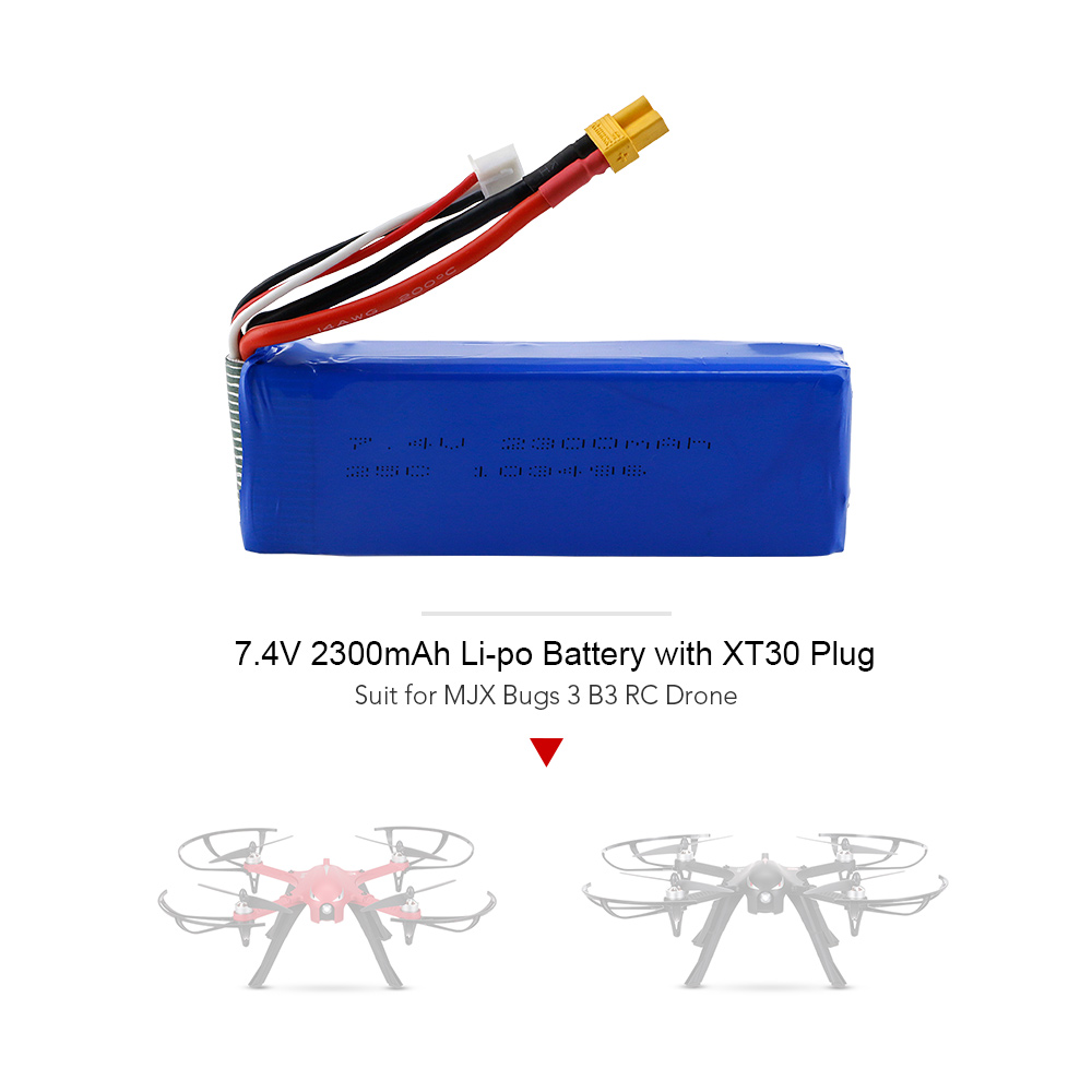 <font><b>7.4V</b></font> <font><b>2300mAh</b></font> 25C Li-po <font><b>Battery</b></font> with XT30 Plug for MJX Bugs 3 B3 RC Drone Quadcopter image