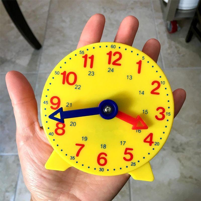 Montessori Student Learning Clock Time Teacher Gear Clock 4 Inch 12/24 Hour 19QF