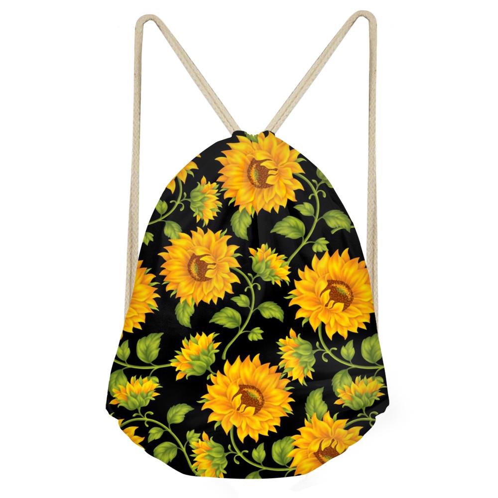 Draw String Bag Sunflower Casual Sack Drawstring Bag For Girl Travel Backpack Toddler Softback Lady Beach Women Drawstring Bag