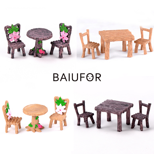 BAIUFOR Mini Home furniture Table and Chair Fairy Garden Miniatures Terrarium Figurines Doll House Decor Doll House Accessories 1