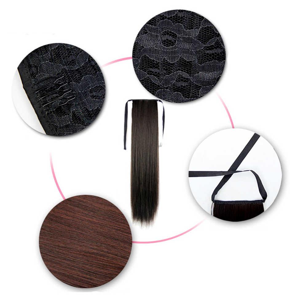 LiangMo 32 cali długie proste wstążka kucyk do kucyka z włosów sztuka włosy Clip in syntetyczny czarny brązowy koński ogon do kucyka z włosów przedłużanie włosów dla kobiet