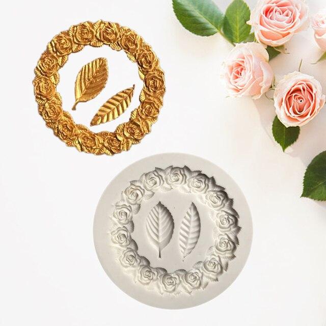 Wreath Leaf Shape Liquid Silicone Mold DIY Chocolate Cake Decoration Mold Frame Fondant Baking Mold