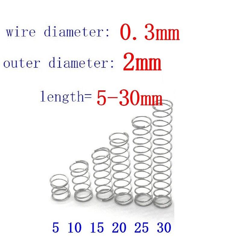 20 шт. диаметр проволоки = 0,3 мм диаметр = 2 мм из нержавеющей стали Micro return маленькие пружины для антикоррозионного удлинения L = 5-30